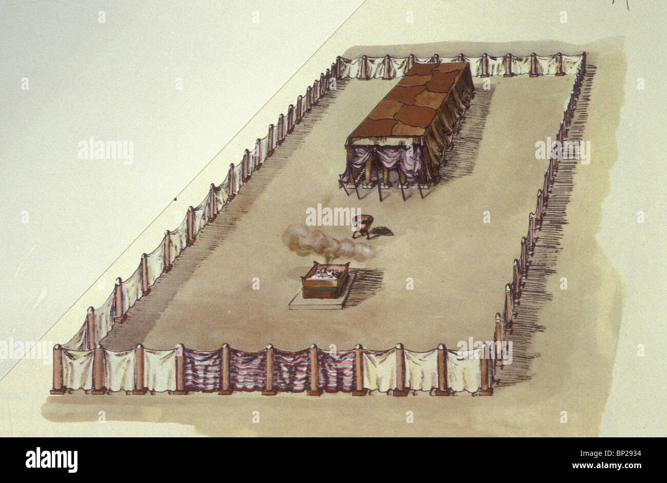 DRAWING OF THE RECONSTRUCTION OF THE TABERNACLE THE TENT OF WORSHIP ERECTED BY THE ISRAELITES AFTER LEAVING EGYPT - Stock Image
