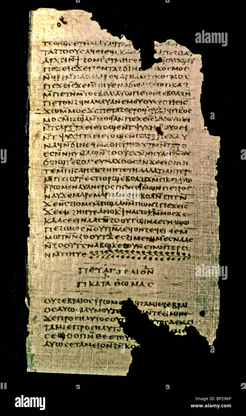 GOSPEL OF THOMAS FROM THE NAG HAMADI CODEX II. - A NON CANONICAL GOSPEL WRITTEN BY A WITNESS TO THE EARLYEST CHRISTIAN - Stock Image
