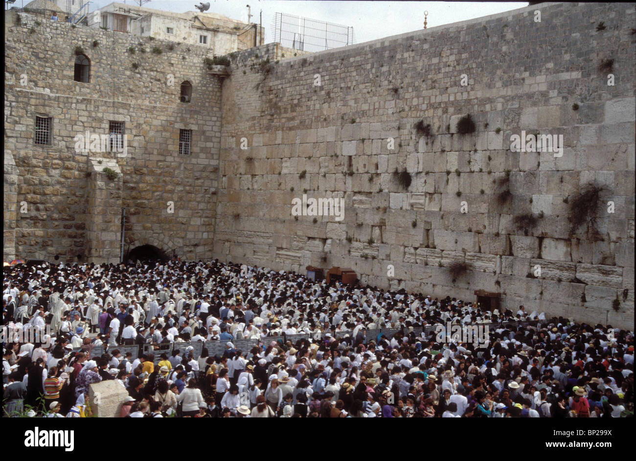 2821. JEWS PRAYING AT THE WESTERN WALL DURING THE PASSOVER PILGRIMAGE TO JERUSALEM - Stock Image