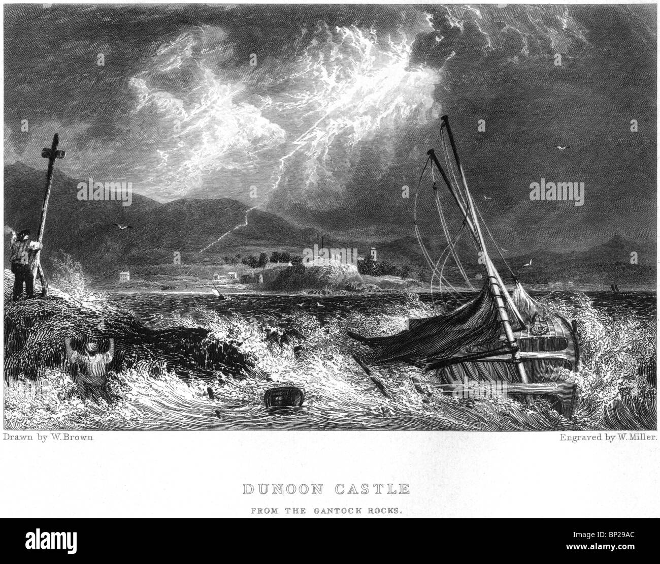 An engraving of Dunoon Castle, Western Scotland - scanned at high resolution from a book published in 1830. - Stock Image