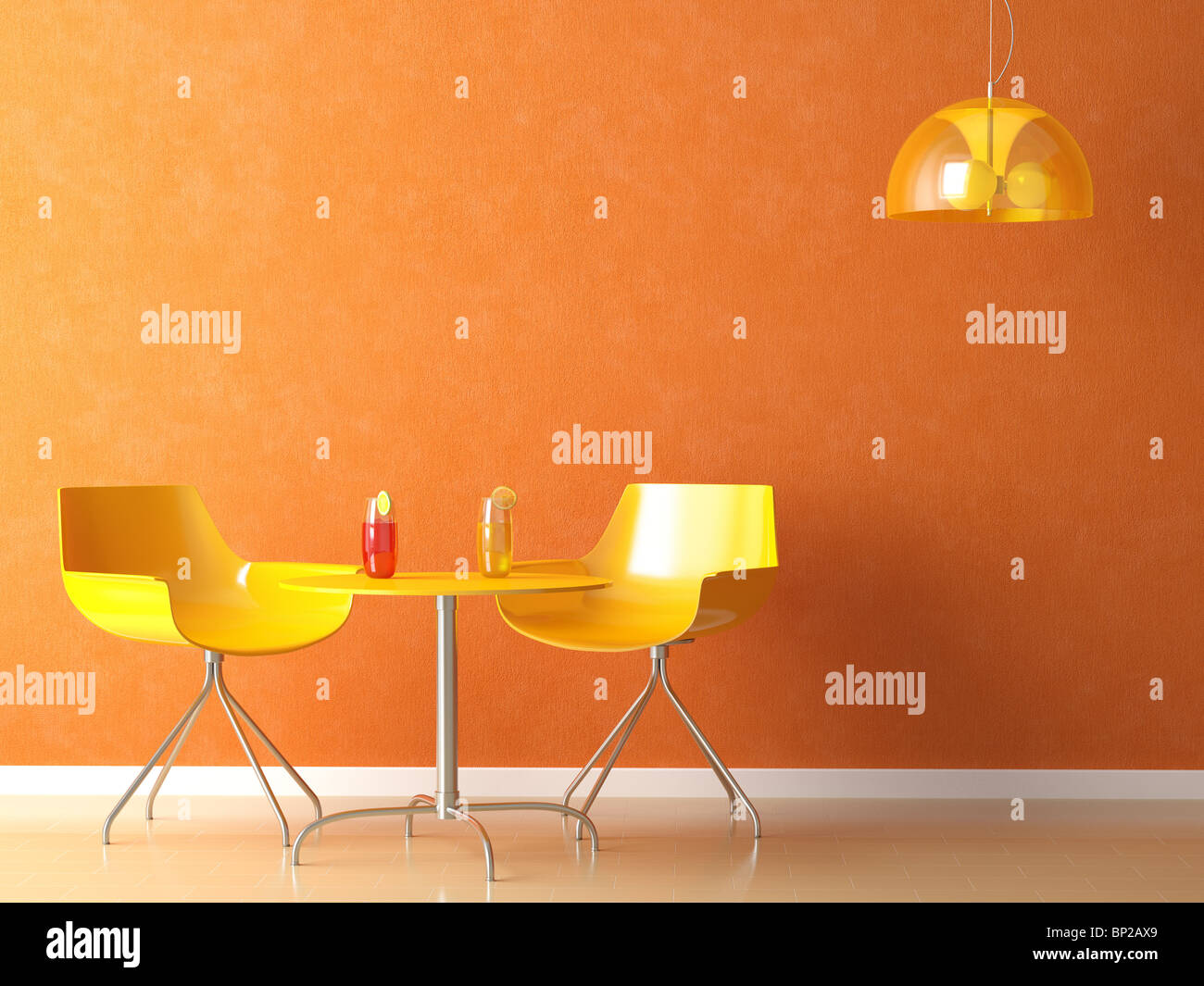 3D render scene of a modern coffee-shop table and chair in orange and yellow colors - Stock Image