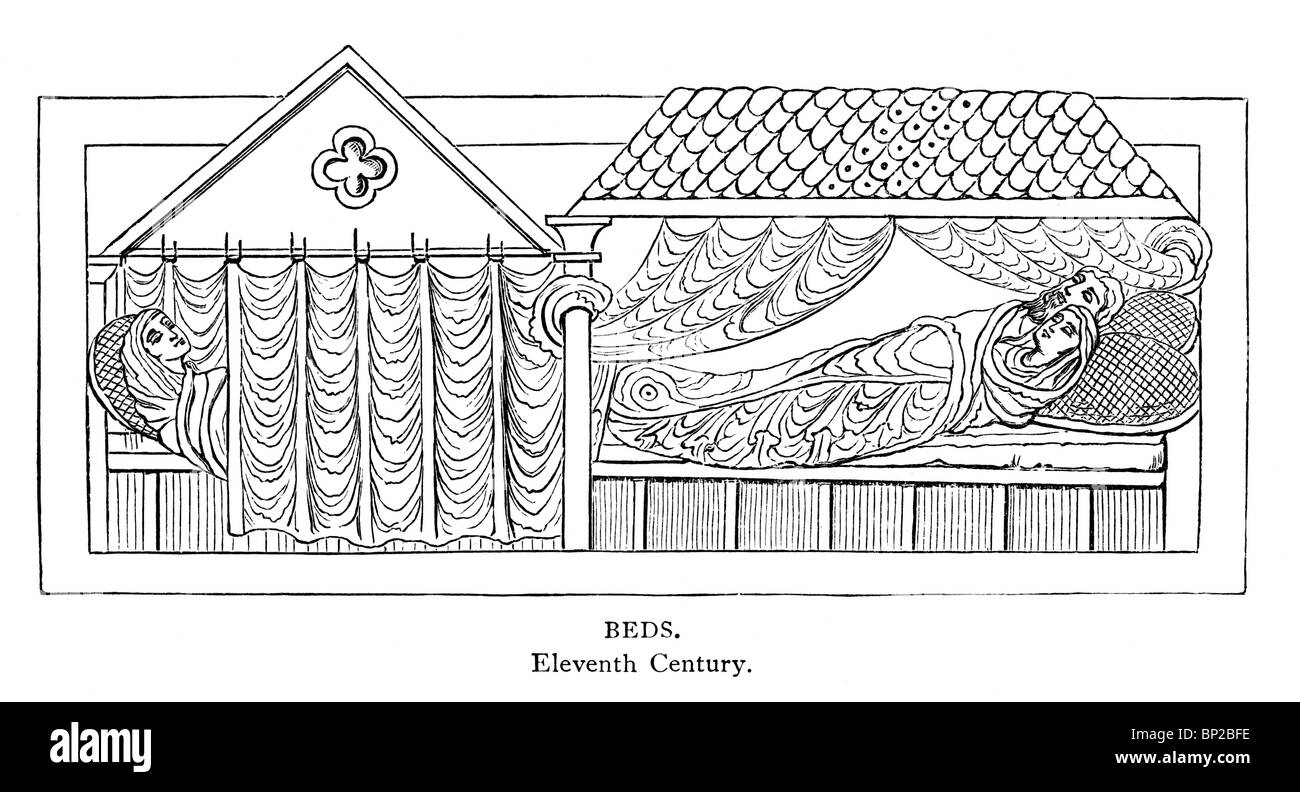 Black and White Illustration; 11th century; Canopied Beds - Stock Image
