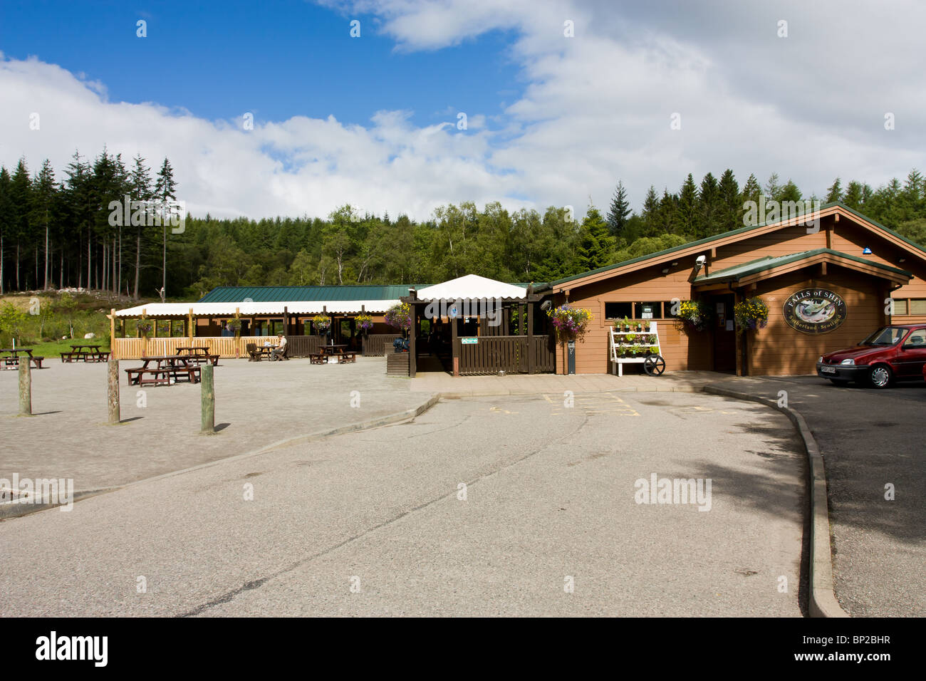 Falls of Shin visitor centre by the river shin near Lairg in the Scottish Highlands. - Stock Image