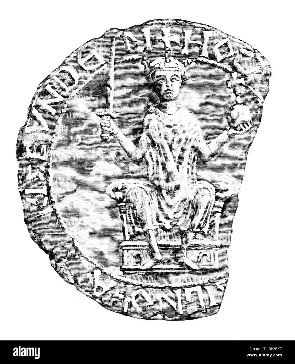 Black and White Illustration; 11th century; The Great Seal of William the Conqueror - Stock Image