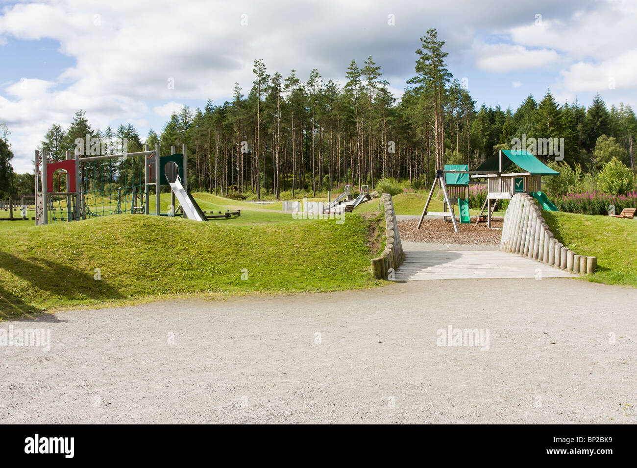 Falls of Shin visitor centre children's play area by the river shin near Lairg in the Scottish Highlands. - Stock Image
