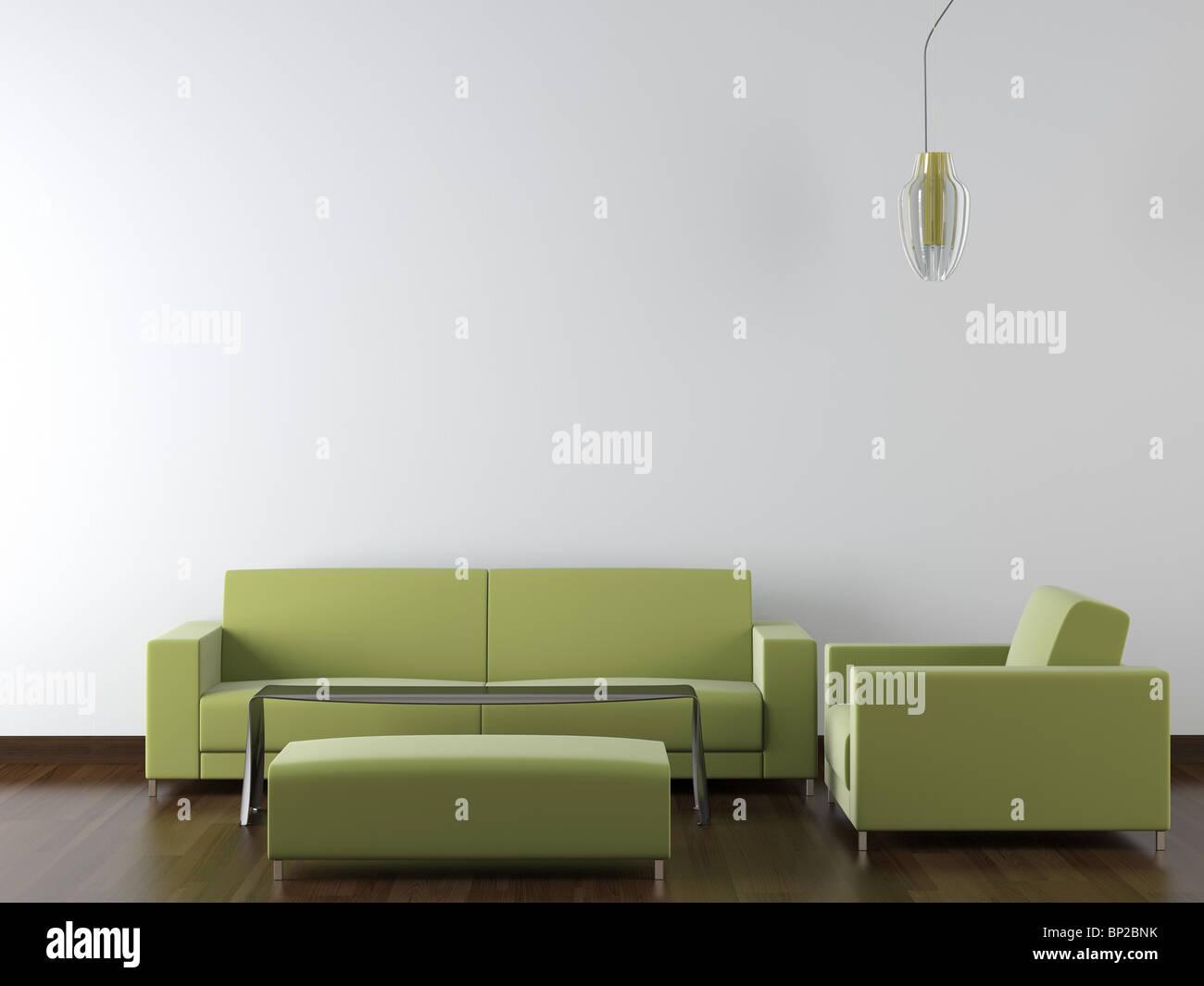 interior design of modern green living room furniture against white ...