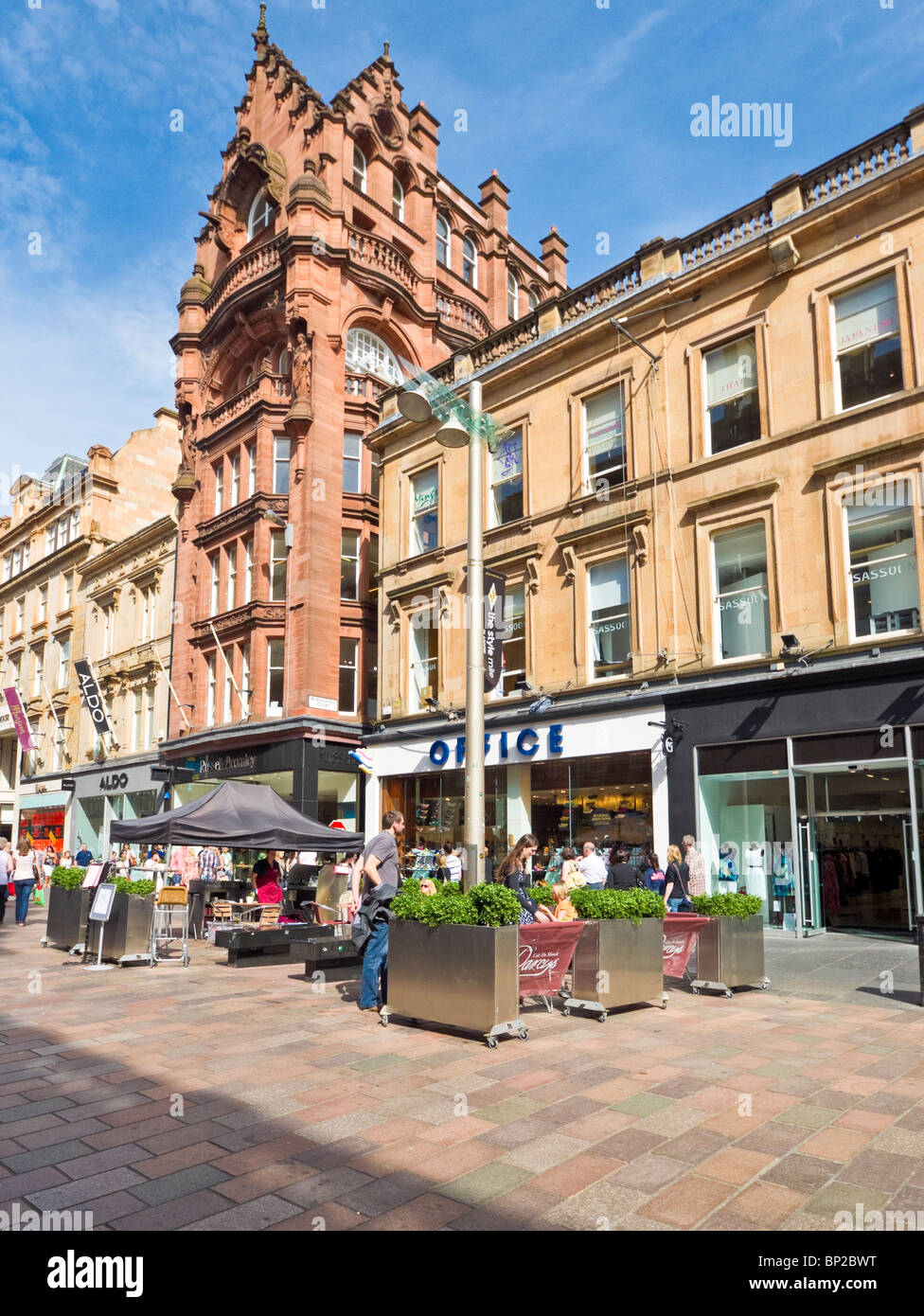 Cafe Culture in Buchanan Street Glasgow Scotland - Stock Image