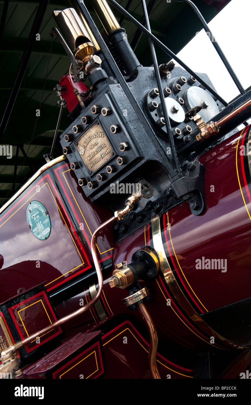 Showmans Traction Engine at a steam fair in England. Abstract - Stock Image