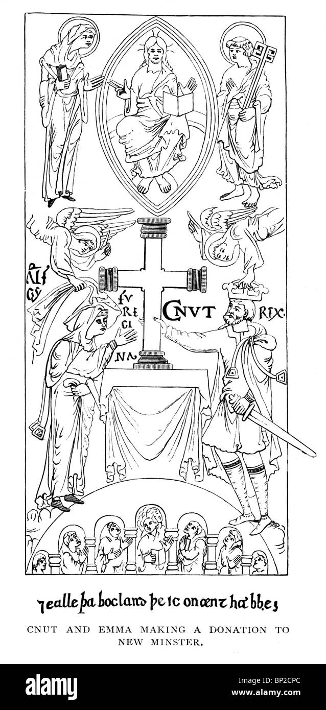 Black and White Illustration; King Cnut or Canute and Emma making a donation to New Minster; From an 11th century - Stock Image
