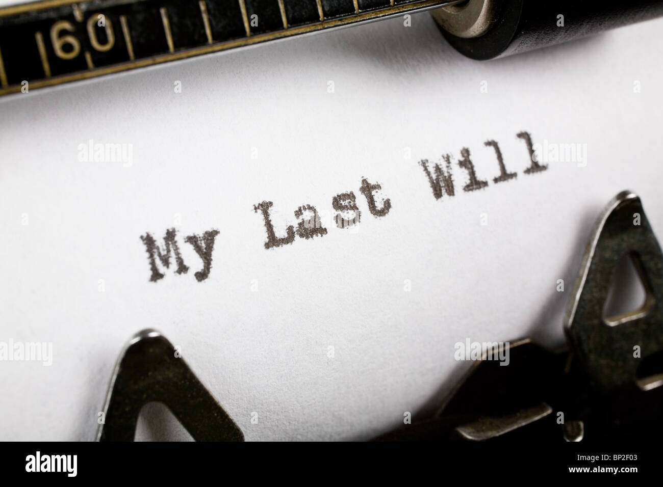 Typewriter close up shot, Concept of last will - Stock Image