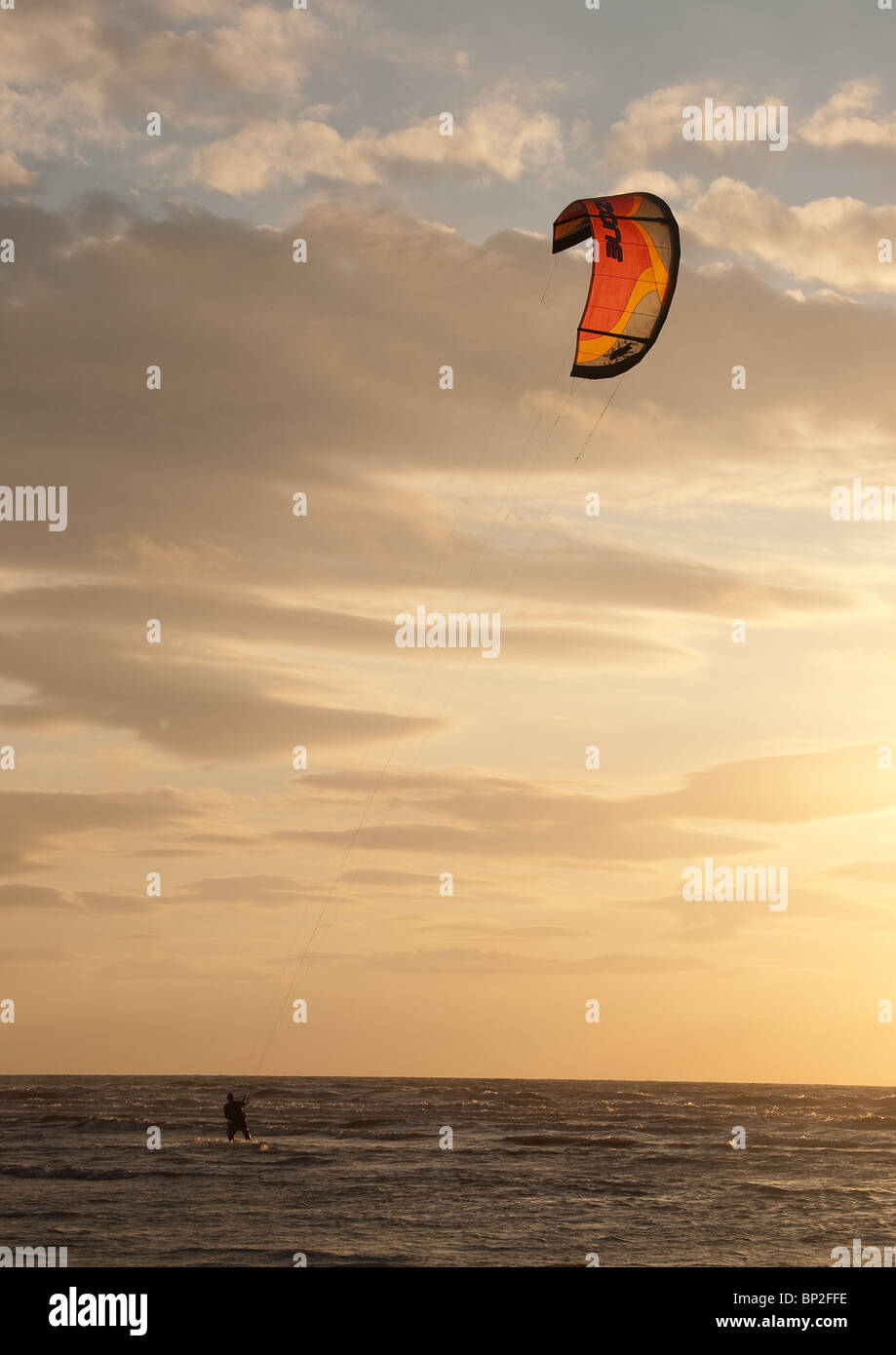 Wind surfing off Southport - Stock Image