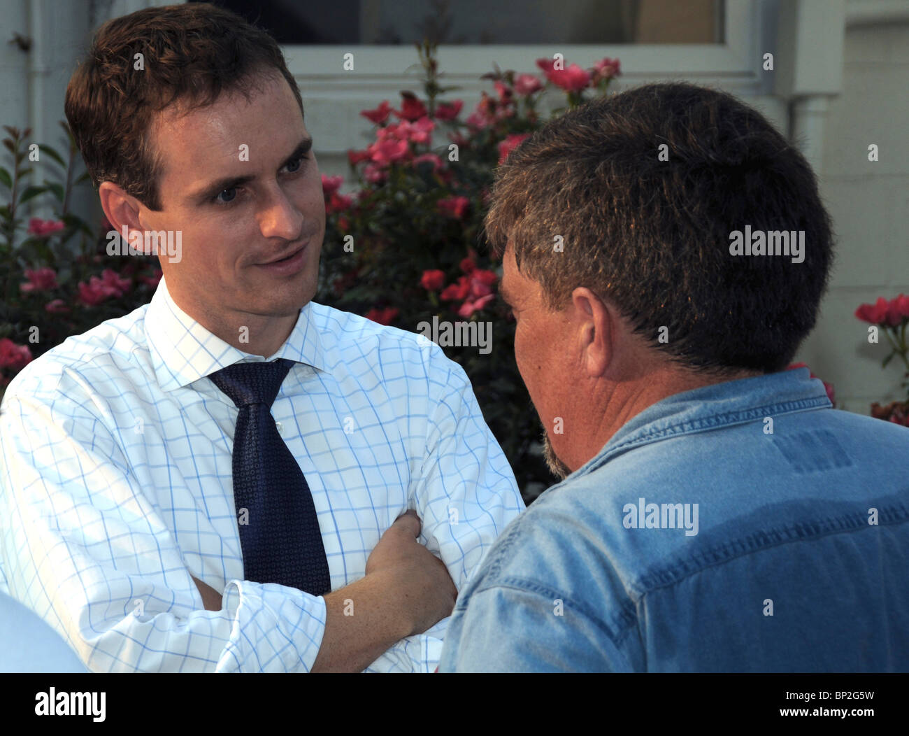 Centreville, Maryland USA Brian Murphy one of the two Republican candidates running for governor talks to a man - Stock Image