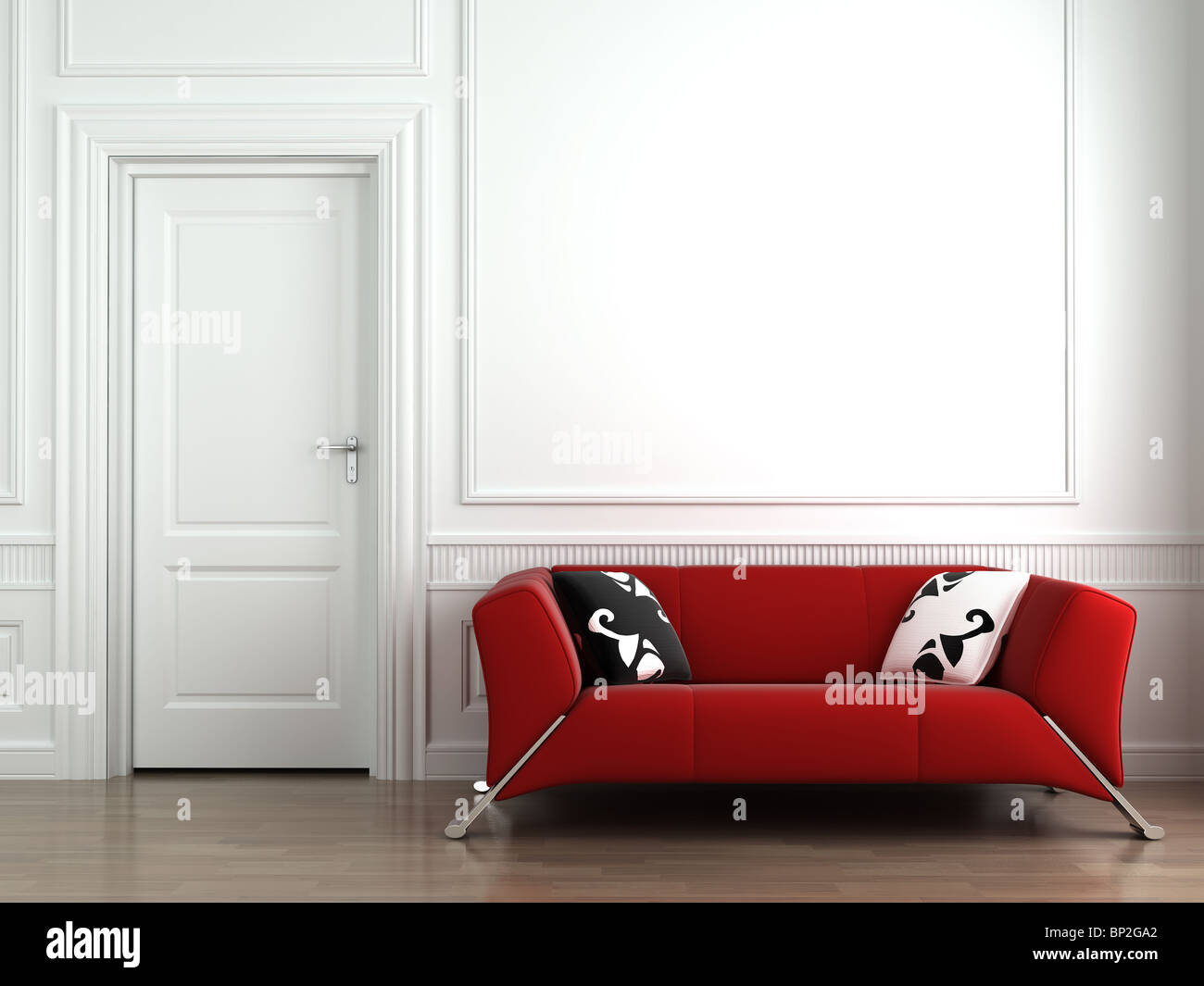 3d interior scene of a red couch on white classic wall - Stock Image