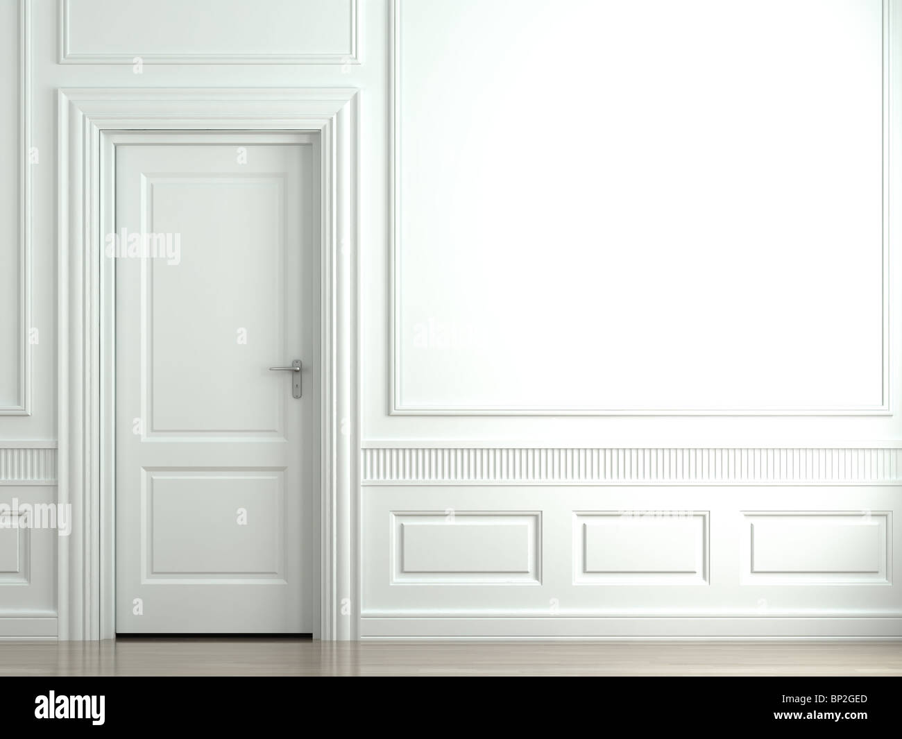 3d scene of a white classic wall with door and moldings - Stock Image