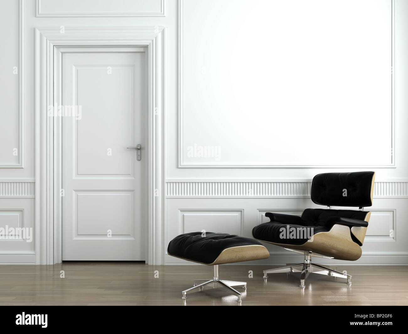 3d scene of leather armchair on white classic interior wall - Stock Image