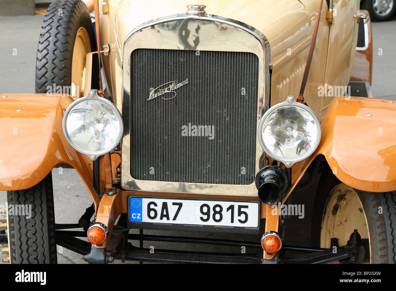Vintage car Laurin Klement Old Town Prague Czech Republic Bohemia - Stock Image