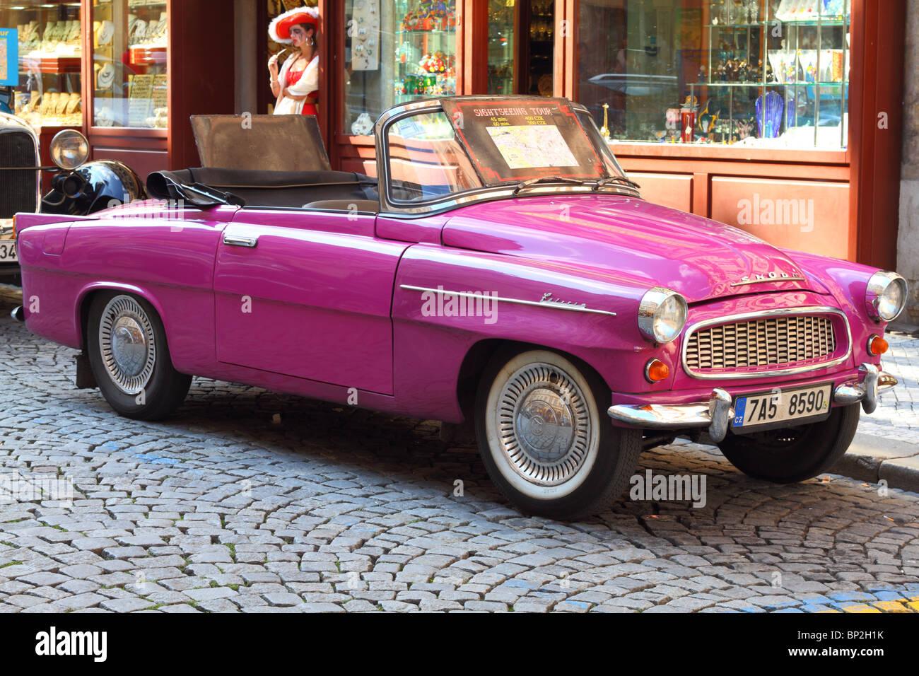 Vintage car Skoda Felicia Mala Strana Prague Czech Republic Bohemia - Stock Image