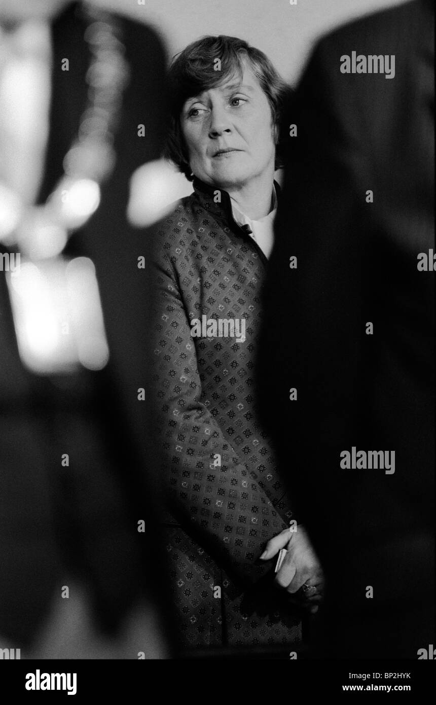 Shirley Williams waiting moments before the election results are announced at the Crosby by election Liverpool 1981. - Stock Image