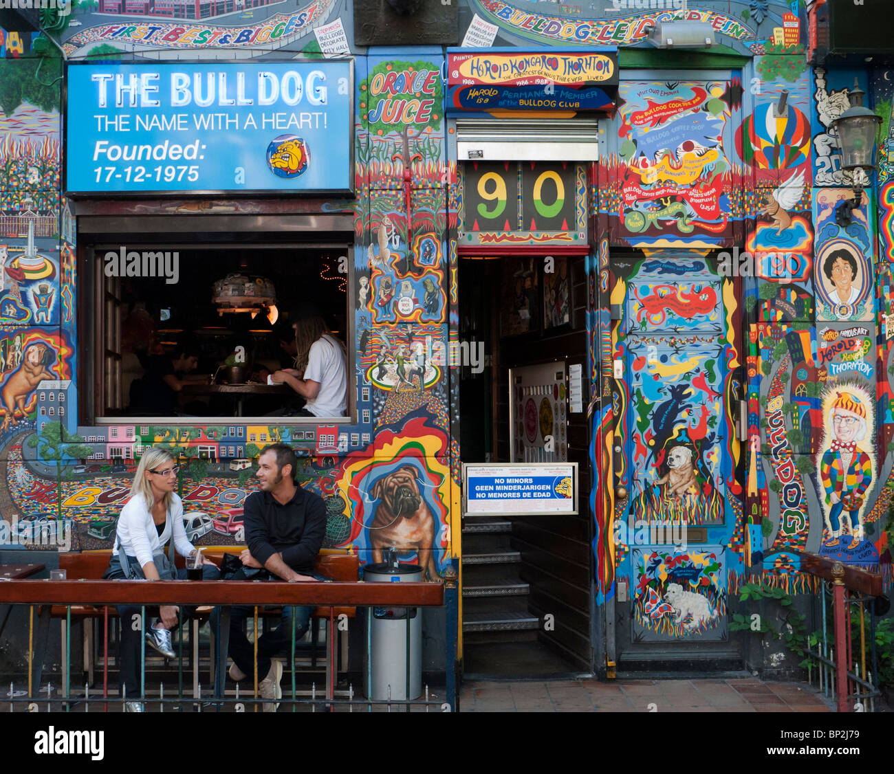 Exterior of famous Bulldog coffeeshop in red light district of Amsterdam in The Netherlands - Stock Image