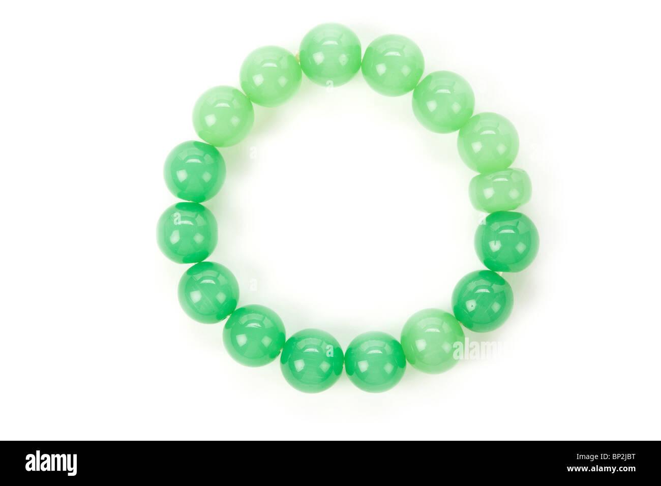 Green Gem bracelet close up shot - Stock Image