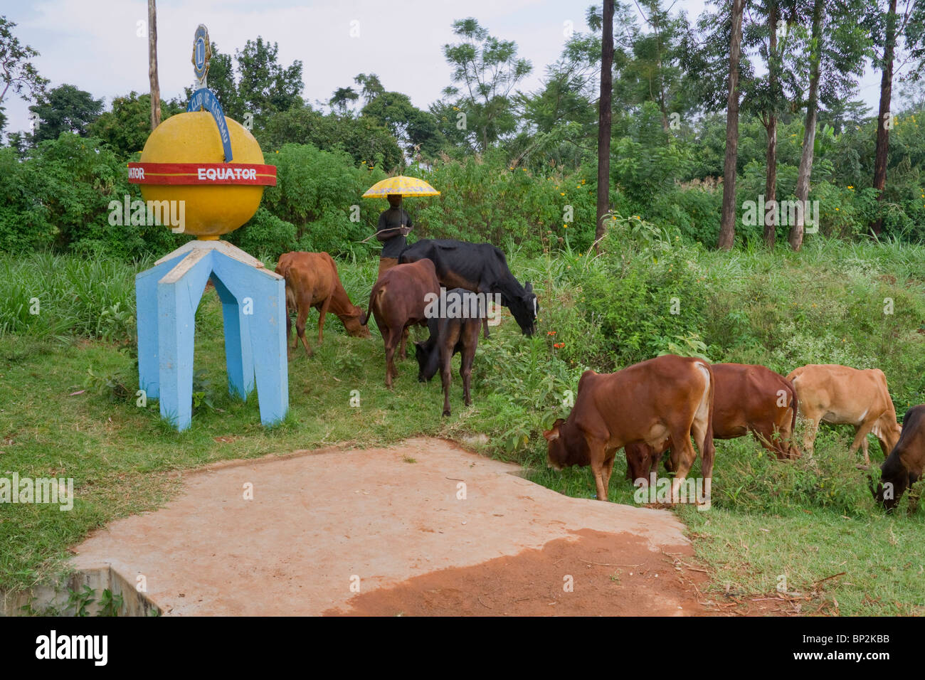 Equator sign on the side of the road in rural western Kenya. - Stock Image