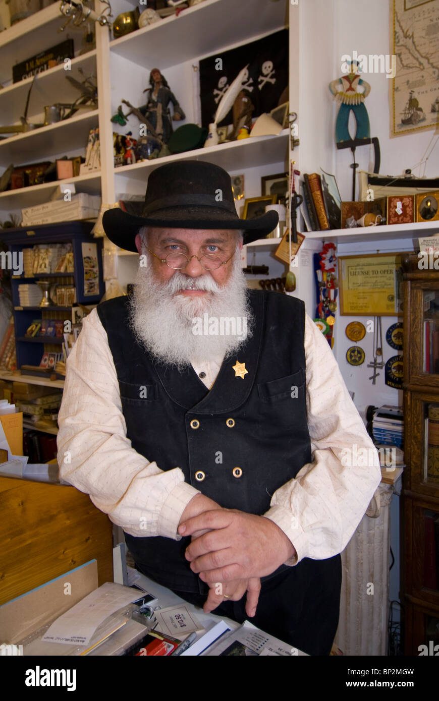 Interpreter/docent at Columbia Booksellers and Stationers, Columbia State Historic Park, California - Stock Image