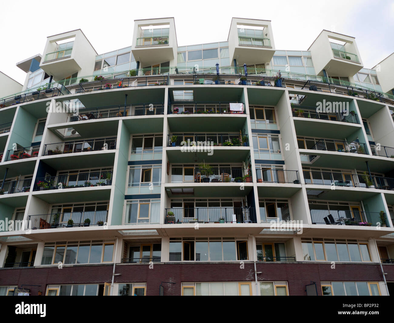 Modern architecture of new apartment building on Java Island new property development in Amsterdam Netherlands - Stock Image