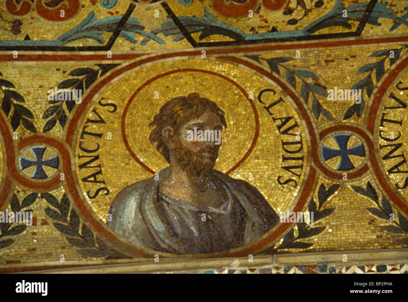 Palermo Sicily Italy The Palatine Chapel In The Norman Palace Mosaic Of Saint Claudius - Stock Image