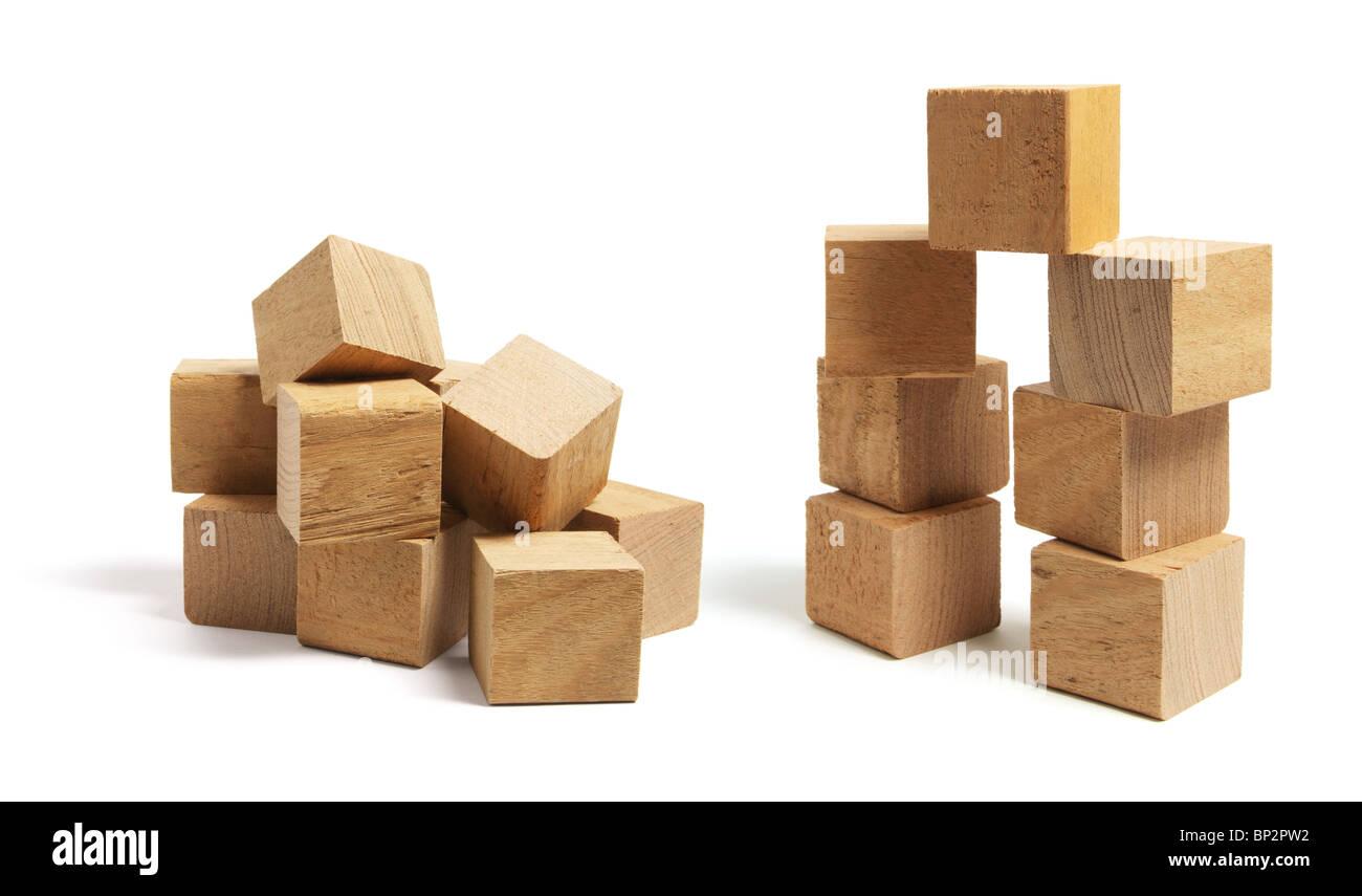 Stacks of Wooden Blocks - Stock Image