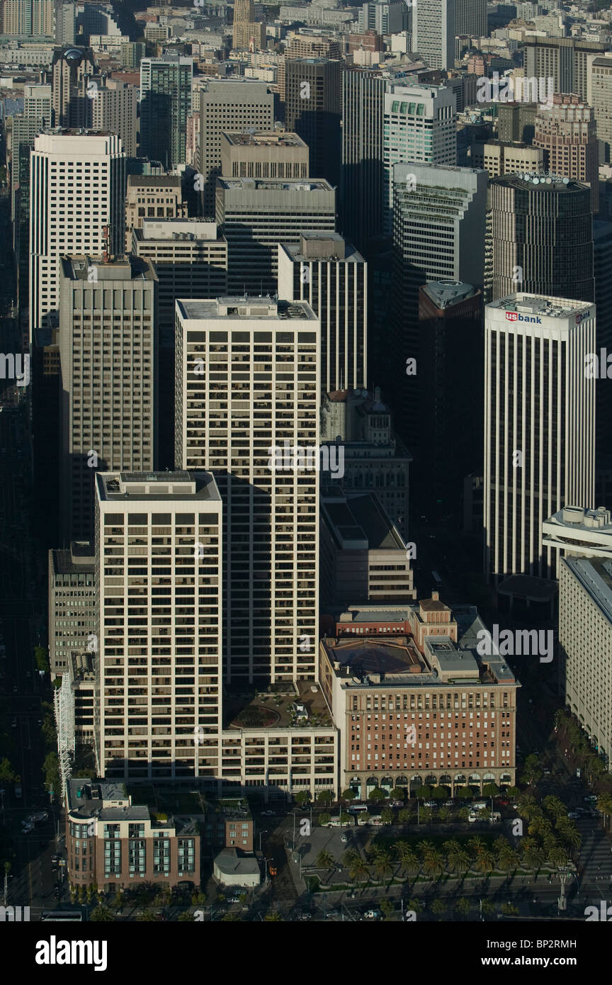 aerial view above Spear Street Towers One Market St San Francisco California - Stock Image