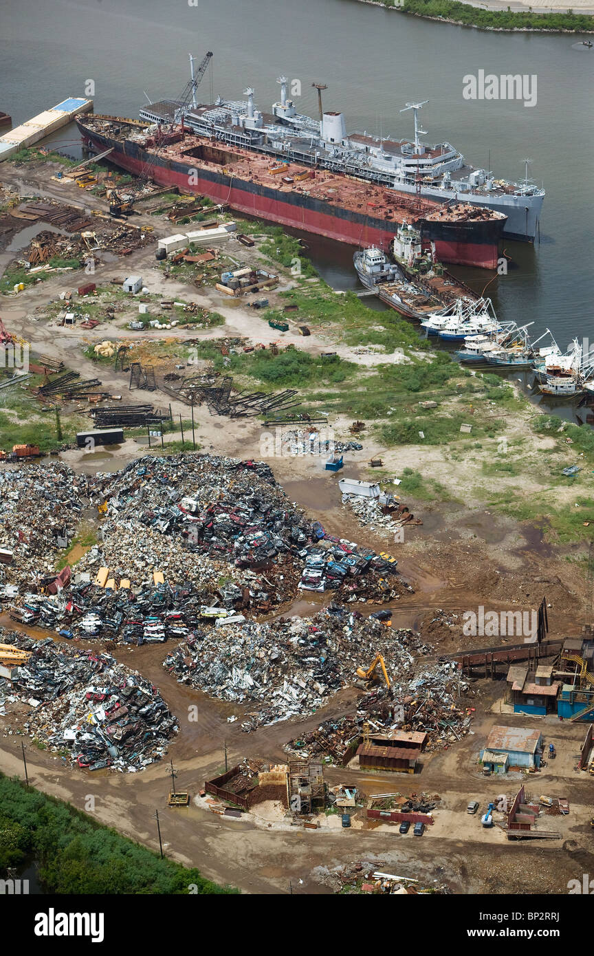 aerial view above scrap metal for recycling New Orleans Louisiana - Stock Image