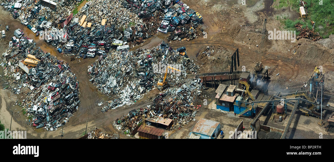 aerial view above preparing scrap metal for recycling New Orleans Louisiana Stock Photo