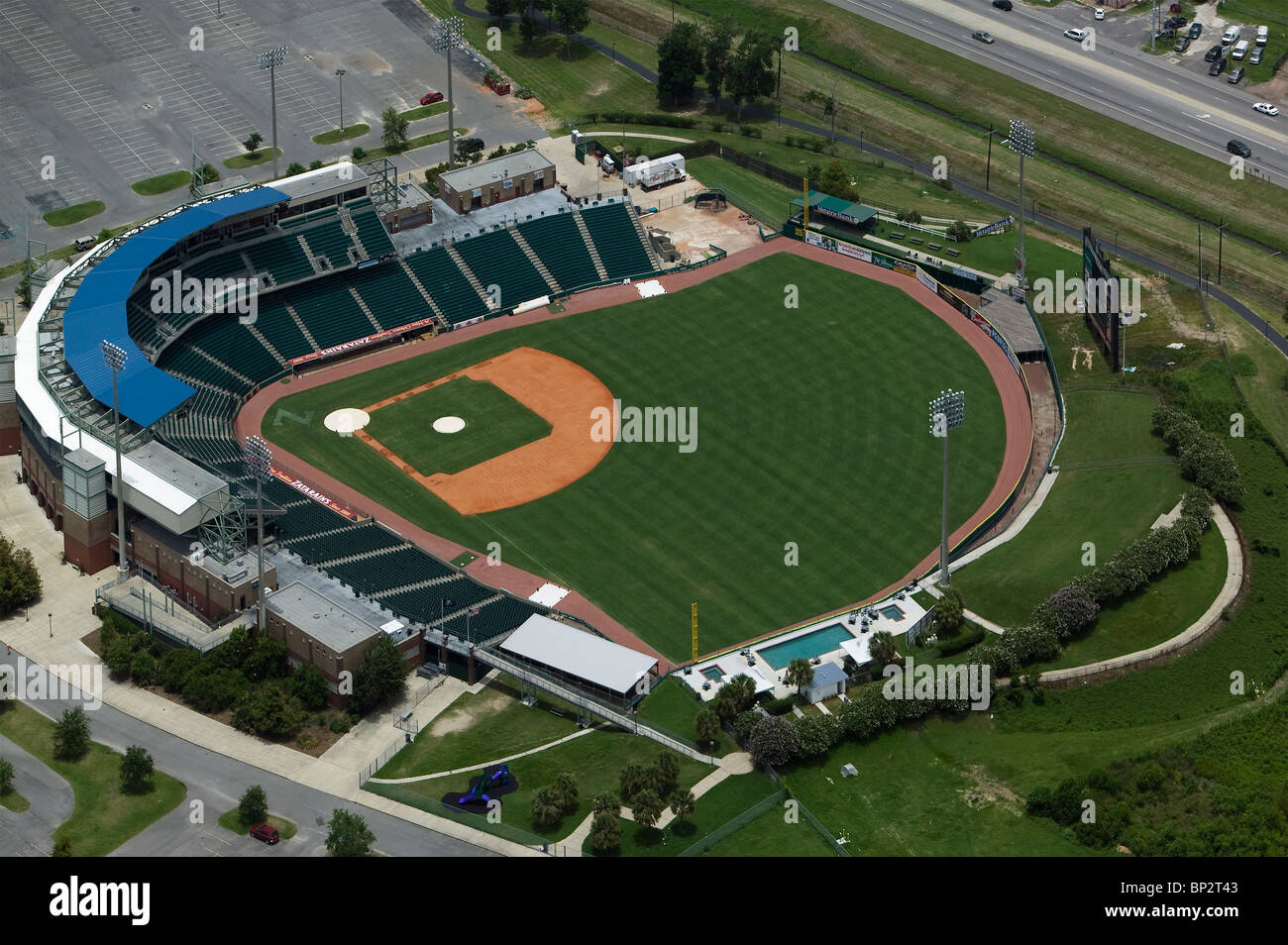 aerial view above Zephyr Field baseball stadium Metairie New Orleans Louisiana - Stock Image
