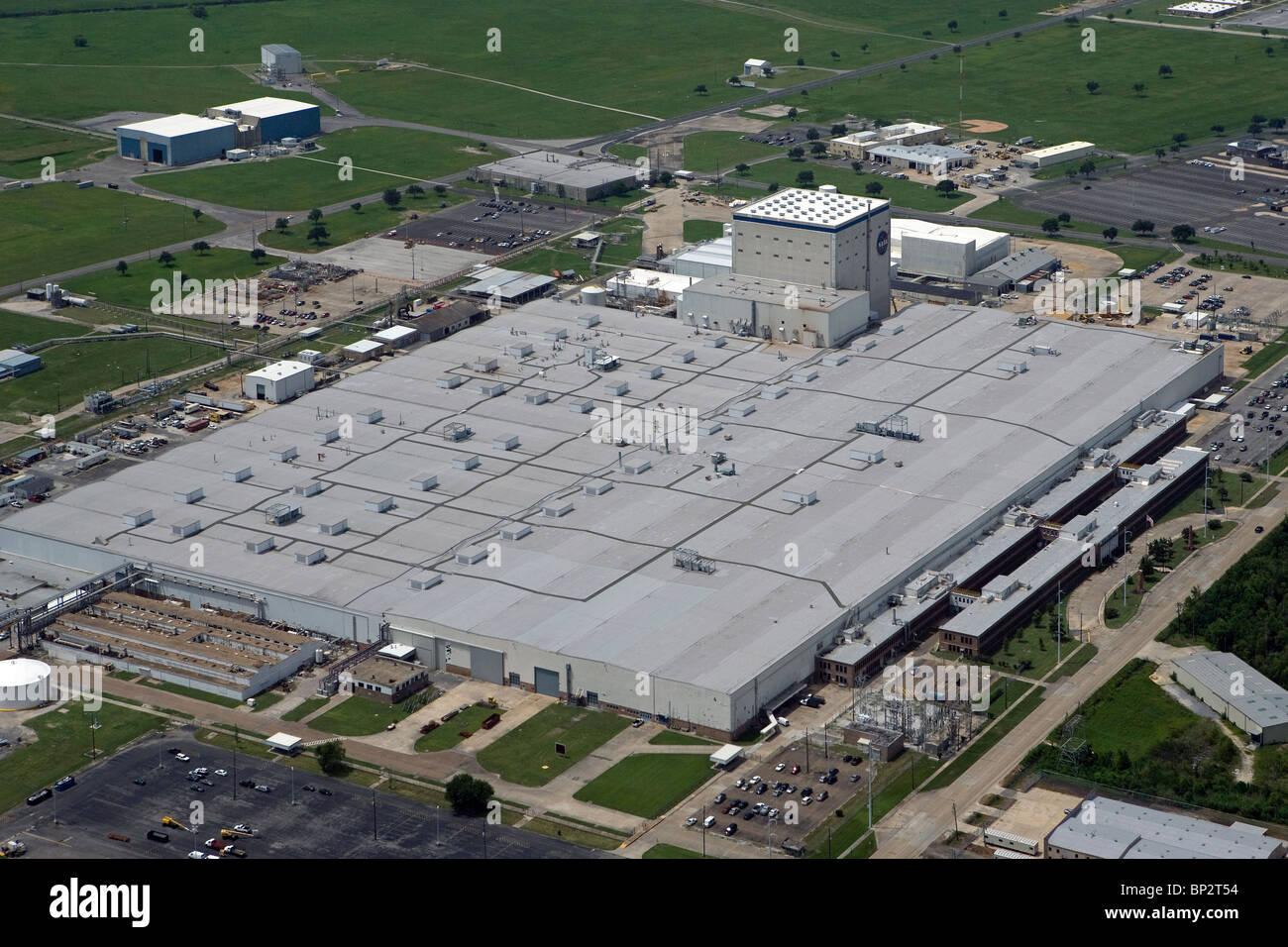 aerial view above NASA Michoud Assembly Facility New Orleans Louisiana - Stock Image