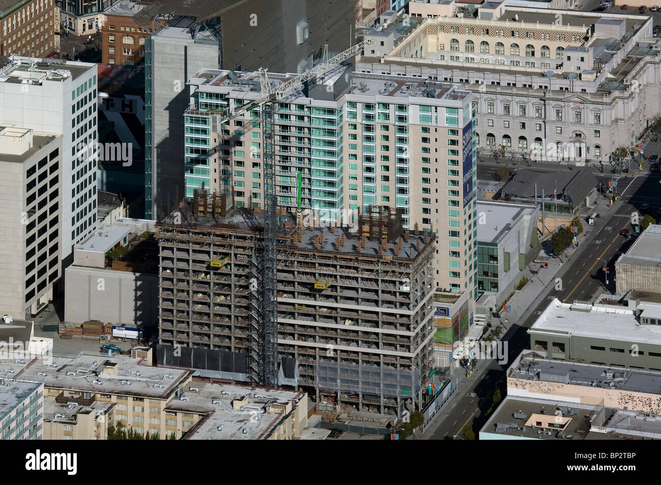 aerial view above high rise construction Mission Street San Francisco California - Stock Image