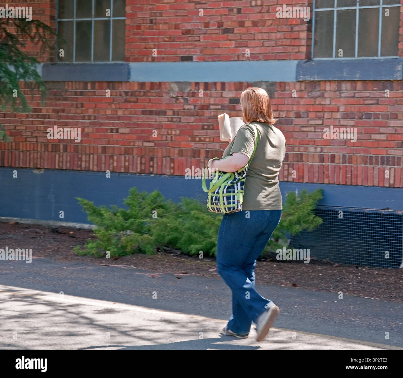 This woman is an avid reader as she reads a book while walking along a pathway against a beautiful old brick building. Stock Photo