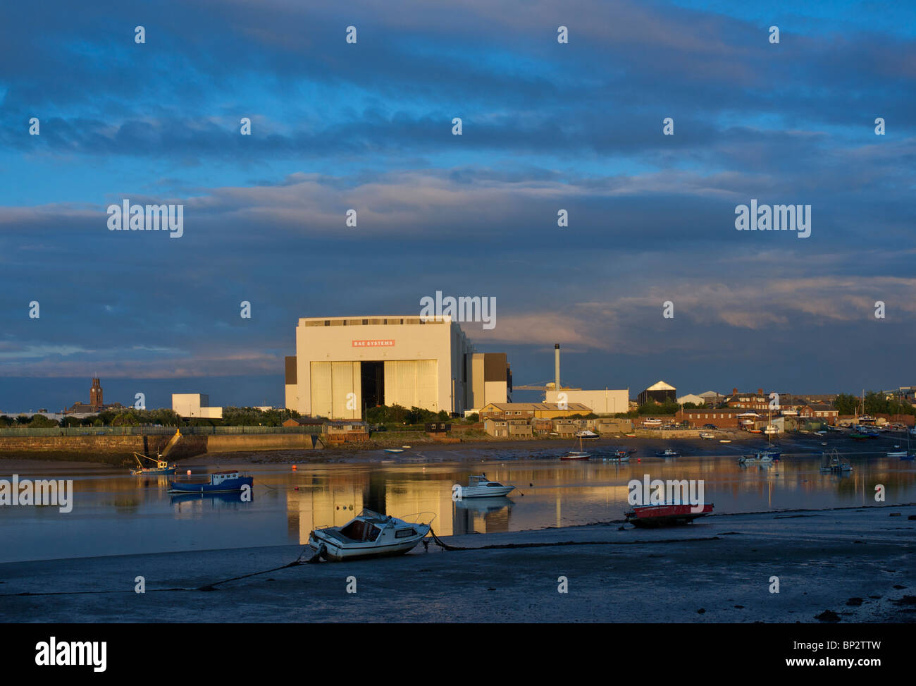 BAE systems shipyard, overlooking Walney Channel, Barrow-in-Furness, Cumbria, England UK - Stock Image