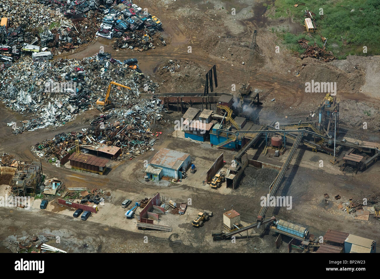 aerial view above preparing scrap metal for recycling New Orleans Louisiana - Stock Image