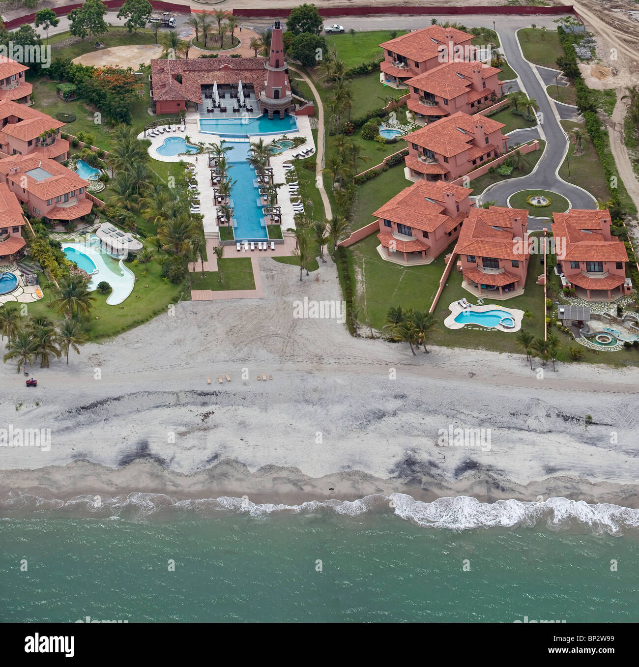 aerial view above residential development Pacific coast Republic of Panama - Stock Image