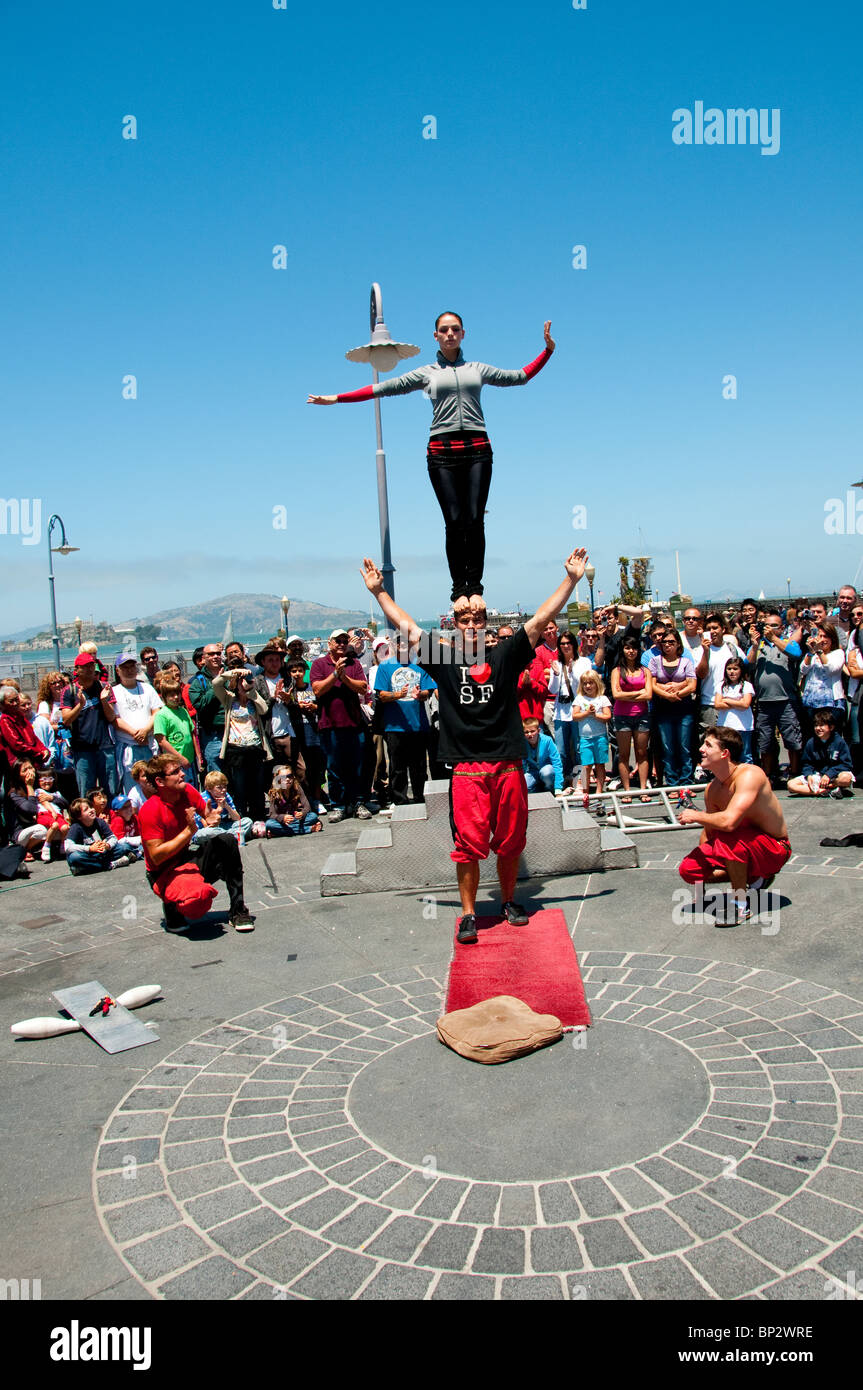 San Francisco: Street entertainers at Fisherman's Wharf. Photo copyright Lee Foster. Photo # casanf104155 - Stock Image