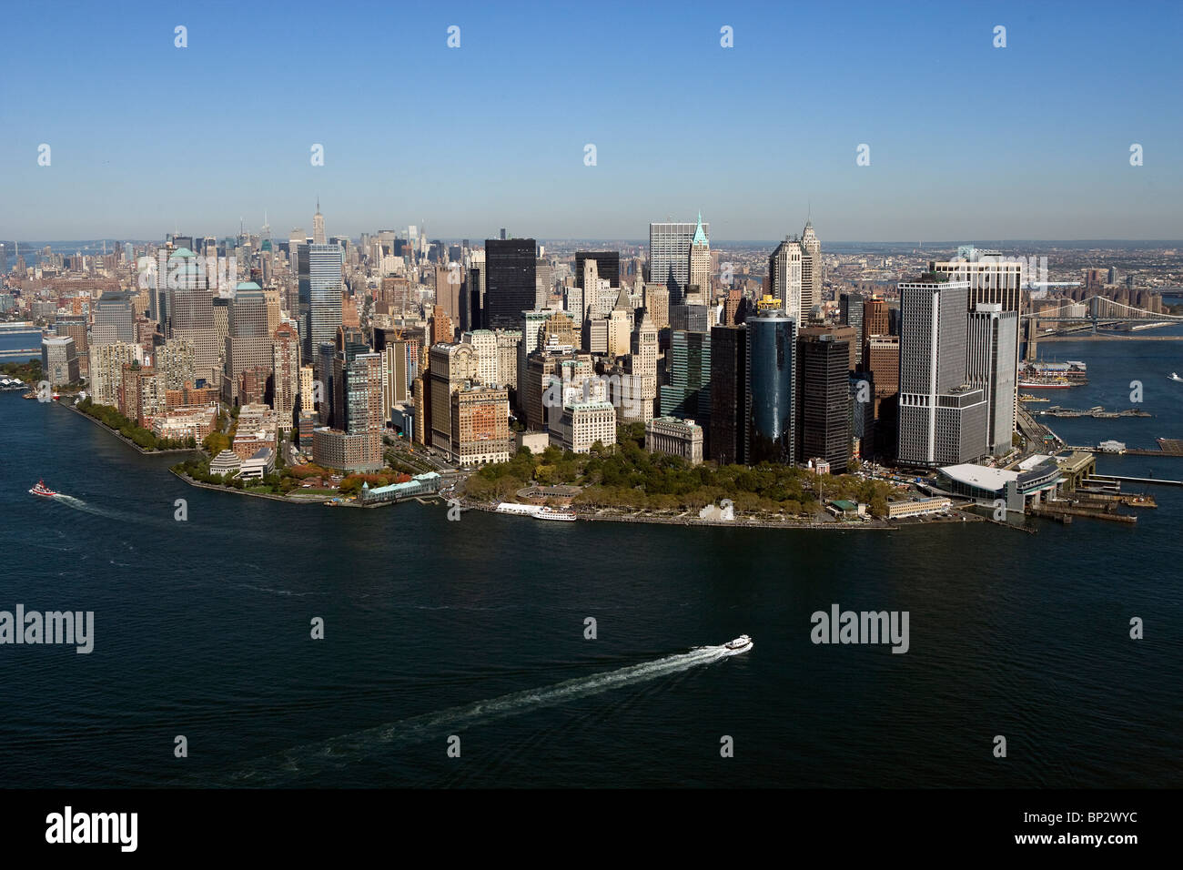 aerial view above Hudson East rivers downtown Manhattan New York city - Stock Image