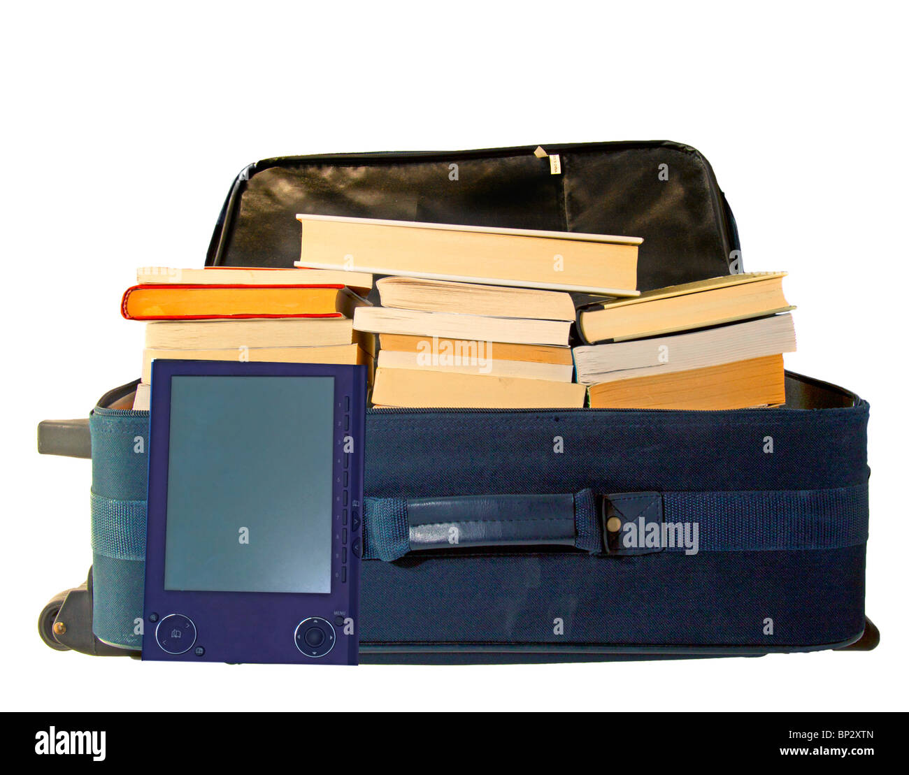 A blue suitcase for travel completely full of books next to an ebook reader (Sony prs505) - Stock Image