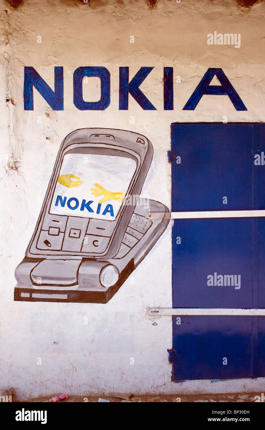 Nokia phone mural outside shop, The Gambia - Stock Image