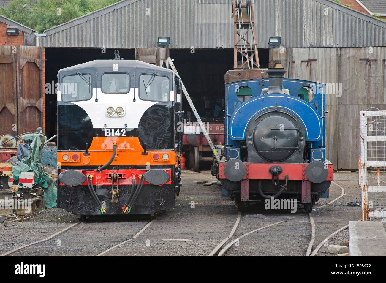 Two restored locomotives at th Railway Preservation of Ireland's workshops at Whitehead, Northern Ireland. Stock Photo
