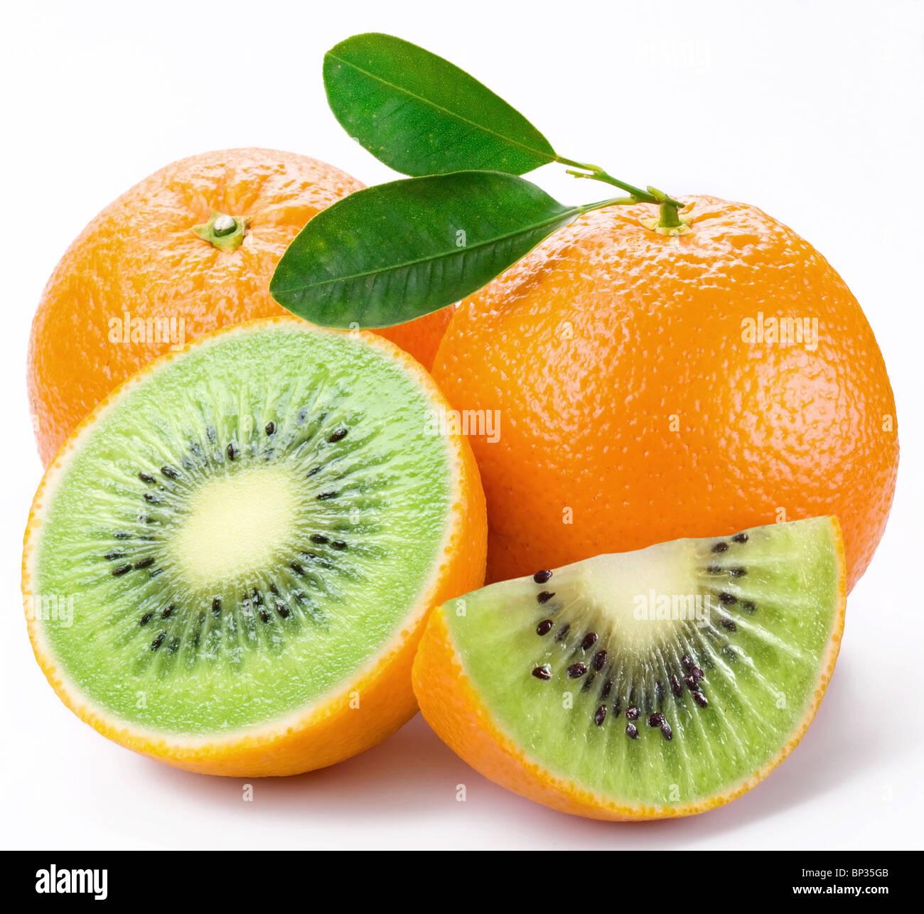 Flesh kiwi cut ripe orange. Product of genetic engineering. Computer assembly. - Stock Image