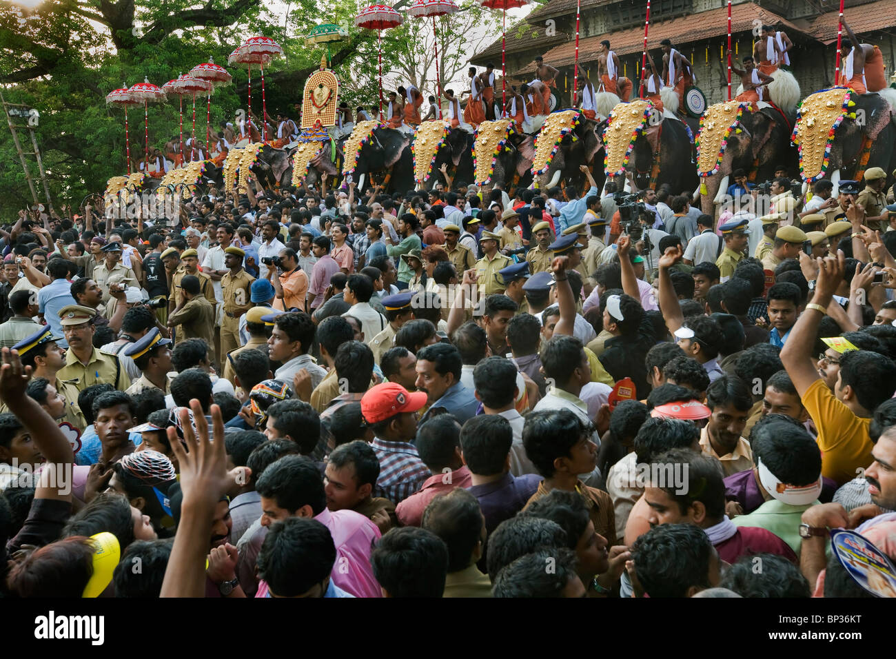 India Kerala Thrissur the Pooram Elephant Festival - Stock Image