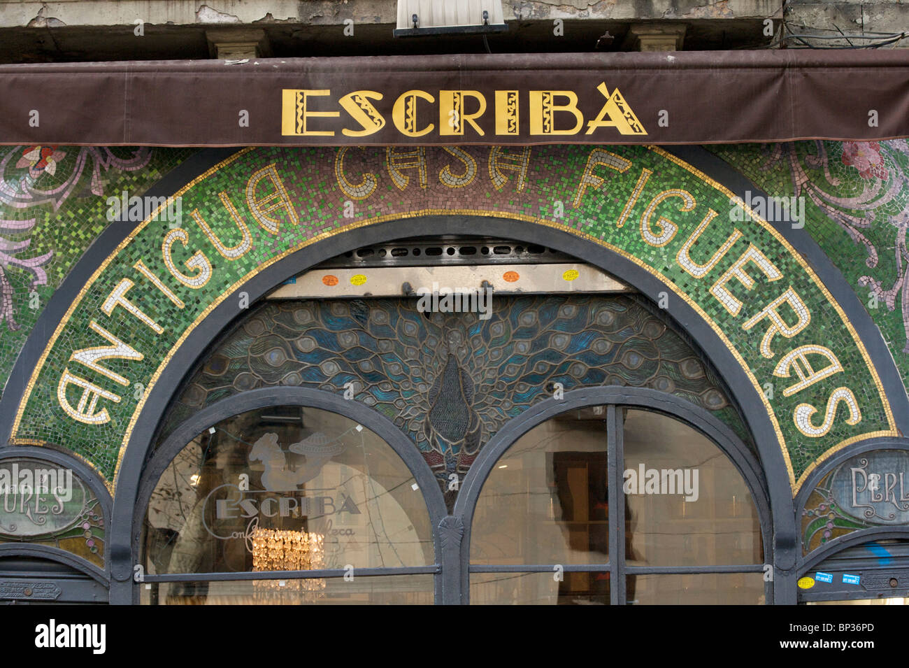 'Patisseria Escriba' designed by by Antoni Ros i Guell in 1902 and located in Las Ramblas in Barcelona - Stock Image