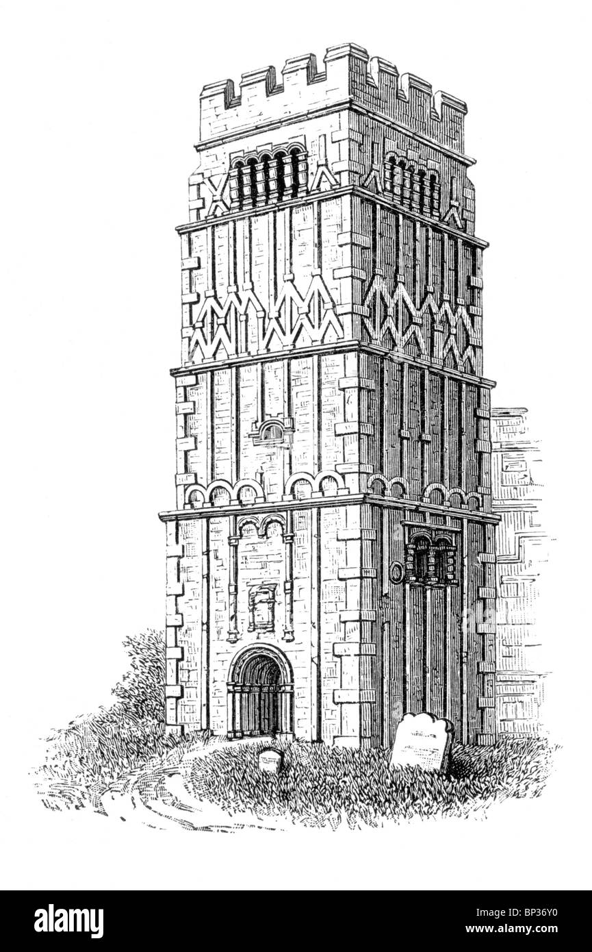 Black and White Illustration; The 10th century Anglo Saxon Tower at Earls Barton Church, Northamptonshire Stock Photo