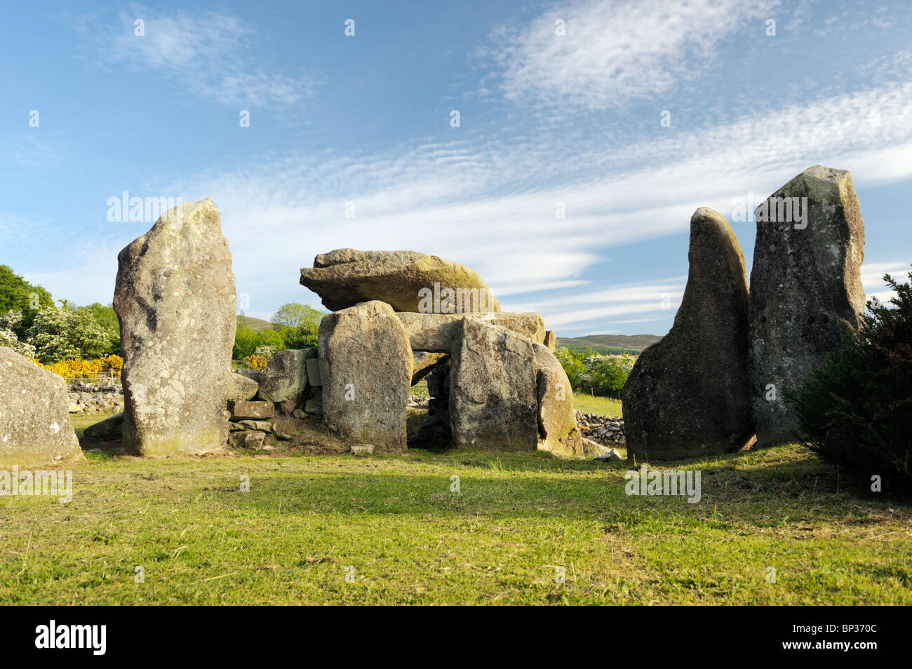 Clontygora prehistoric Neolithic chambered court cairn burial site near Newry, County Armagh, Northern Ireland, Stock Photo