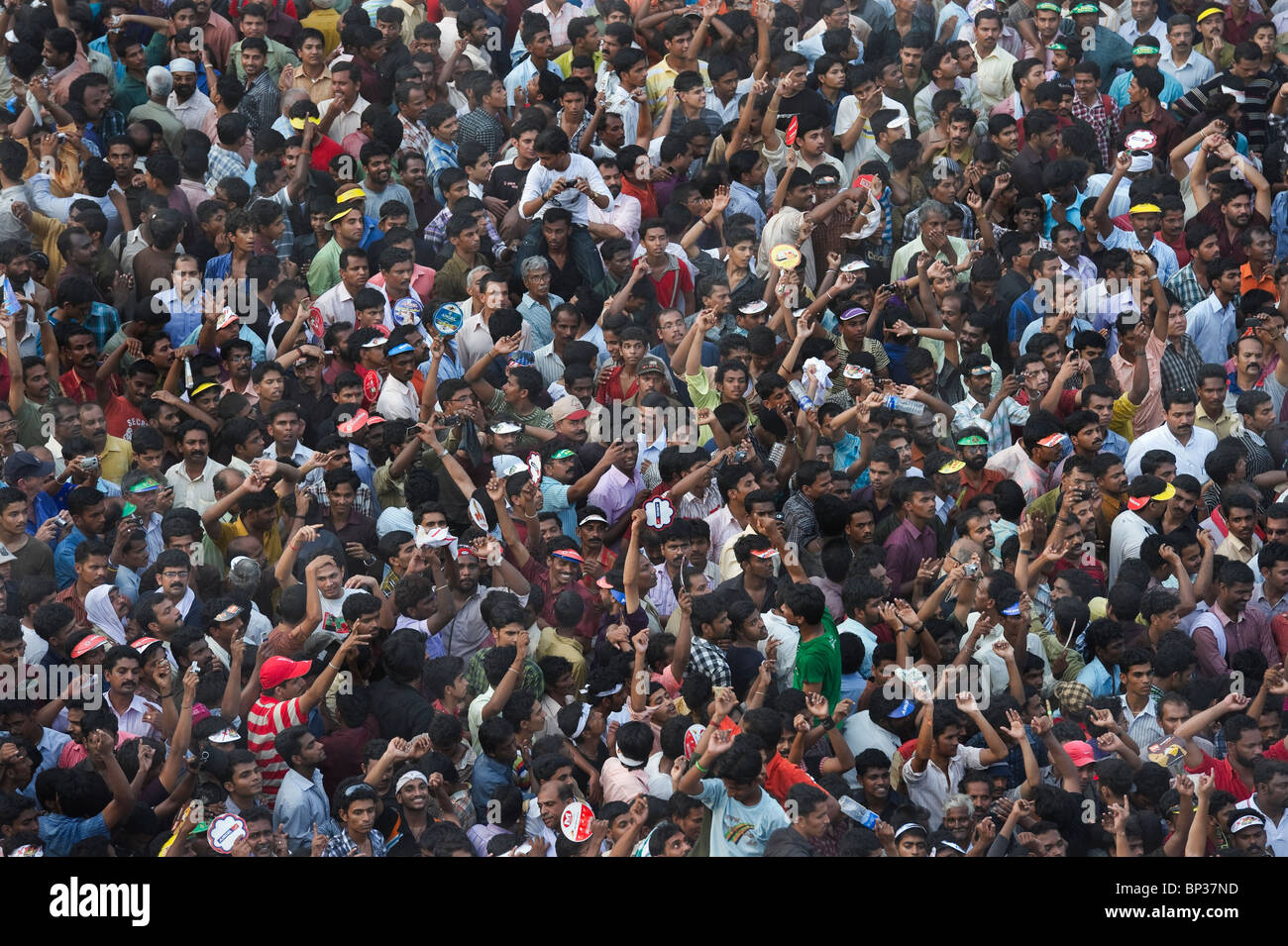India Kerala Thrissur a joyful large crowd during the Pooram Elephant Festival - Stock Image